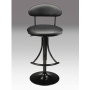 Creative Images International Adjustable Height Swivel Bar Stool with Cushion; Black