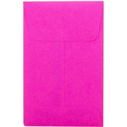 Jam® 2 1/4 x 3 1/2 Open End Brite Hue Paper Envelopes With Gum Closure, Fuchsia Pink