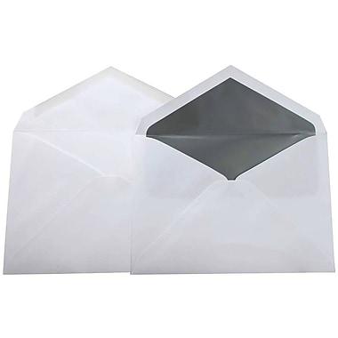 JamMD – Paquet d'enveloppes doublées format livret pour mariage, blanc et argenté, 5 3/4 x 8 po, 100/paq