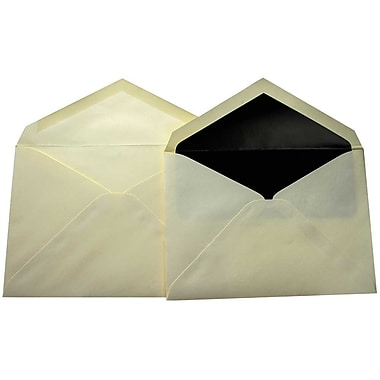 JamMD – Paquet d'enveloppes doublées format livret pour mariage, écru et noir, 5 3/4 x 8 po, 100/paq
