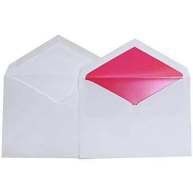 JAM Paper® Lined Wedding Envelope Set, 5.75 x 8, White with Hot Pink Lining, 50/Pack (526SE3380)