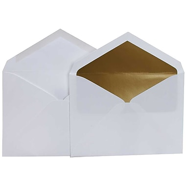 JAM Paper® Lined Wedding Envelope Set, 5.75 x 8, White with Gold Lining, 50/Pack (526SE4010)