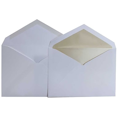 JAM Paper® Lined Wedding Envelope Set, 5.75 x 8, White with Pearl Lined Envelopes, 100/Pack (526SE4050)