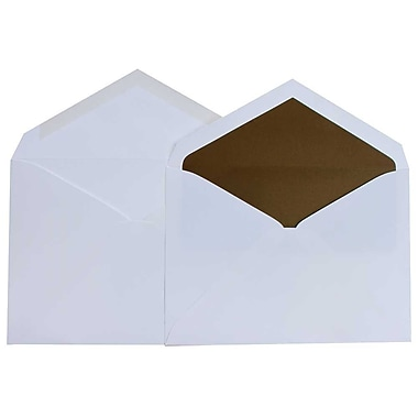 JAM Paper® Lined Wedding Envelope Set, 5.75 x 8, White with Chocolate Brown Lining, 100/Pack (526SE4296)
