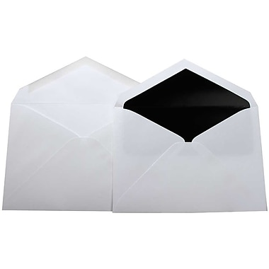 JAM Paper® Lined Wedding Envelope Set, 5.75 x 8, White with Black Lined Envelopes, 100/Pack (526SE4090)