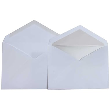 JAM Paper® Lined Wedding Envelope Set, 5.75 x 8, White with Crystal Lining, 100/Pack (526SE4520)