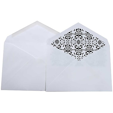 JAM Paper® Lined Wedding Envelope Set, 5.75 x 8, White with Castilian Lining, 100/Pack (526SE9449)