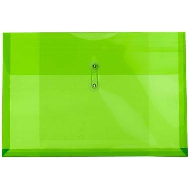 JamMD – Enveloppe en plastic format livret, avec rabat rond et fermeture à ficelle et bouton, 9 3/4 x 14 1/2 po