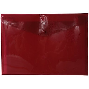 JAM Paper® Plastic Envelopes with Snap Closure, Letter Booklet, 9.75 x 13, Red Poly, 12/Pack (218S0RE)