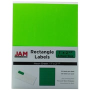 Jam® Paper 1 x 2 5/8 Address Label, Neon Green, 30 Labels per Page, 120/Pack