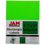 Jam® Paper 3 1/3 x 4 Address Label, Neon Green, 6 Labels per Page, 120/Pack