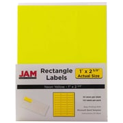 Jam® Paper 1 x 2 5/8 Address Label, Neon Yellow, 30 Labels per Page, 120/Pack