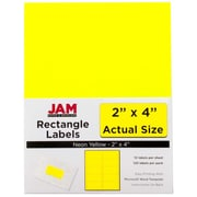 Jam® Paper 2 x 4 Address Label, Neon Yellow, 10 Labels per Page, 120/Pack