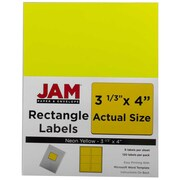 Jam® Paper 3 1/3 x 4 Address Label, Neon Yellow, 6 Labels per Page, 120/Pack