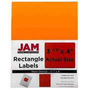 "Jam® Paper 3 1/3"" x 4"" Address Label, Neon Orange, 6 Labels per Page, 120/Pack"