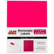 Jam® Paper 1 x 2 5/8 Address Label, Neon Pink, 30 Labels per Page, 120/Pack