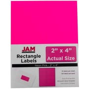 Jam® Paper 2 x 4 Address Label, Neon Pink, 10 Labels per Page, 120/Pack