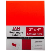 Jam® Paper 2 x 4 Address Label, Neon Red, 10 Labels per Page, 120/Pack