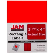Jam® Paper 3 1/3 x 4 Address Label, Neon Red, 6 Labels per Page, 120/Pack