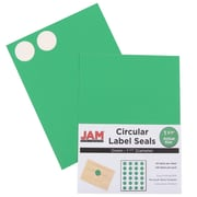 "Jam® Paper 1 1/2"" Circle Label Sticker Seal, Green, 24 Labels per Page, 120/Pack"