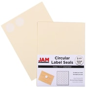 Jam® Paper 1 1/2 Circle Label Sticker Seal, Ivory, 24 Labels per Page, 120/Pack