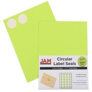 Jam® Paper 1 1/2 Circle Label Sticker Seal, Lime Green, 24 Labels per Page, 120/Pack