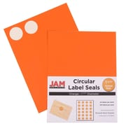 Jam® Paper 1 1/2 Circle Label Sticker Seal, Orange, 24 Labels per Page, 120/Pack
