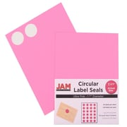 Jam® Paper 1 1/2 Circle Label Sticker Seal, Ultra Pink, 24 Labels per Page, 120/Pack