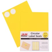 Jam® Paper 1 1/2 Circle Label Sticker Seal, Yellow, 24 Labels per Page, 120/Pack