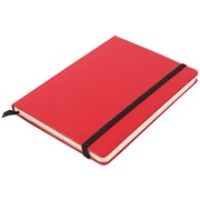 """Jam® 5"""" x 7"""" Hardcover Notebook With Elastic Cover, Red"""