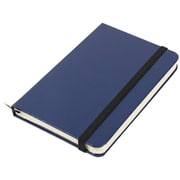 "Jam® 3 3/4"" x 5 5/8"" Hardcover Notebook With Elastic Cover, Blue"
