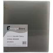 Jam® Designders® Glass Twill 0.75 Three Ring Binder, Smoke