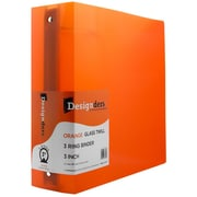JAM Designders Glass Twill 3-Inch Round 3-Ring Binder, Orange (821T3OR)