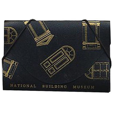 JAM Paper® Plastic Business Card Case, National Building Museum Design Black/Gold, 100/Pack (53667489B)