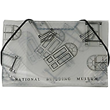 JAM Paper® Plastic Business Card Case, National Building Museum Design Clear/Black, 100/Pack (0366662B)