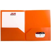 "Jam® 9"" x 12"" Biodegradable Plastic Two Pocket School Folder, Orange"