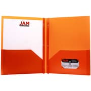 "Jam® 9"" x 12"" Biodegradable Plastic School Two Pocket Folders W/Clips, Orange, 6/Pack"