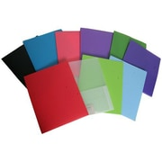 Jam® 9 x 12 Heavy Duty Plastic 2 Pocket School Presentation Folder, Assorted, 6/Pack