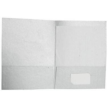 JAM Paper® Handmade Recycled Folders, Metallic Silver, 500/Pack (05964499C)