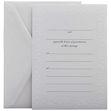JAM Paper® Fill-in Wedding Invitation Set, White Flowered Border, 25/Pack (354628217)