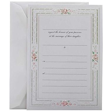 JamMD – Ensemble d'invitations de mariage à remplir avec 25 cartes et enveloppes, rose avec bordure métallique