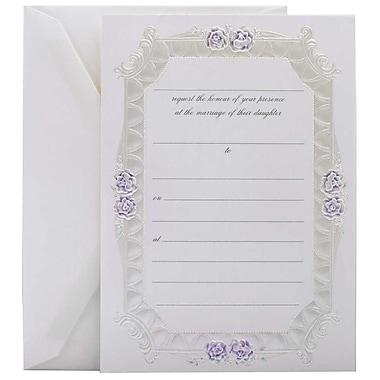 JamMD – Ensemble d'invitations de mariage à remplir avec 25 cartes et enveloppes, rose bleue avec bordure métallique