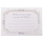 Jam® Reception Card Set With 25 Cards, Blue Rose with Metallic Border