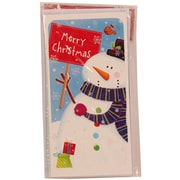 Jam® Holiday Money Cards With 6 Cards and Envelopes, Merry Christmas Blue Snowman