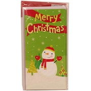 Jam® Holiday Money Cards With 6 Cards and Envelopes, Green/Red Snowman Merry Christmas