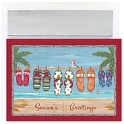 Jam® Warm Wishes Christmas Card Set With 18 Cards and Envelopes, Holiday Flip Flops