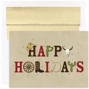 Jam® Warm Wishes Christmas Card Set With 18 Cards and Envelopes, Western Happy Holidays