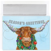 Jam® Warm Wishes Christmas Card Set With 18 Cards and Envelopes, Holiday Longhorn