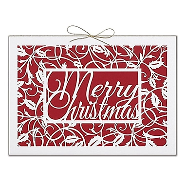 JAM Paper® Christmas Holiday Cards Set, Merry Christmas Holly, 12/Pack (526E1235MB)