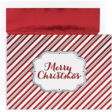 JAMMD – Ensemble de cartes du temps des fêtes Winter Wonderland comprenant 16 cartes et enveloppes, « Merry Christmas Stripes »
